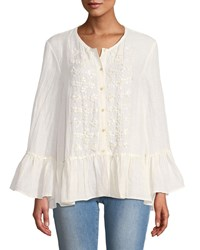 Leon Max Sequined Bell Sleeve Button Front Blouse Ivory