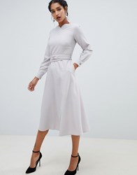 Closet London Long Sleeve Belted Midi Dress Grey