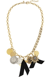 J.Crew Gold Plated Crystal And Faux Pearl Necklace