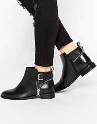 Asos Alarm Wide Fit Leather Ankle Boots Blackbox