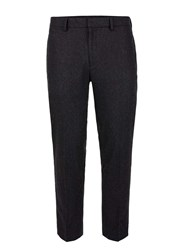 Topman Grey Charcoal Wool Blend Relaxed Fit Cropped Dress Pants