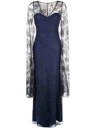 Tadashi Shoji Sheer Cape Evening Dress Blue