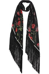 Rockins Rose Printed Silk Crepe De Chine Scarf Black