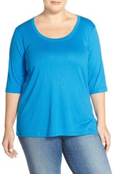 Plus Size Women's Sejour Elbow Sleeve Scoop Neck Tee Blue Aster
