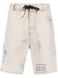 Osklen Printed Swimming Shorts Nude And Neutrals