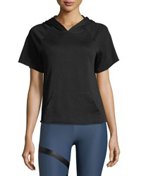 Lanston Short Sleeve Athletic Hoodie Tee Black