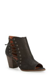Lucky Brand Women's 'Hartlee' Open Toe Bootie Black Leather