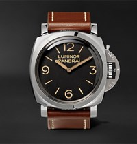 Officine Panerai Luminor 1950 3 Days Acciaio 47Mm Stainless Steel And Leather Watch Brown