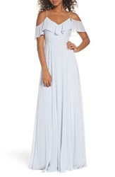 Jenny Yoo Women's Cold Shoulder Chiffon Gown Whisper Blue