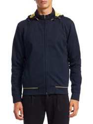 Saks Fifth Avenue Collection Boggi Scuba Full Zip Cotton Hooded Jacket Navy