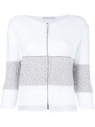 Fabiana Filippi Contrast Zip Up Cardigan White
