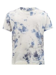 The Elder Statesman Tie Dyed Cashmere Blend T Shirt Grey Multi