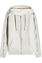 Iro Zipped Hoodie With Lace Up Detail Grey