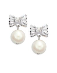 Kate Spade Le Soir Bow Faux Pearl Drop Earrings Silver