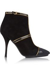 Emilio Pucci Paneled Patent Leather And Suede Ankle Boots Black