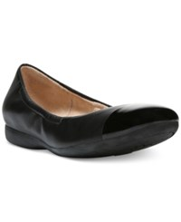 Naturalizer Campo Round Toe Flats Women's Shoes Black Smooth