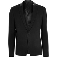 River Island Mens Dark Grey Stud Slim Fit Blazer