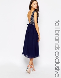 Little Mistress Tall Midi Prom Dress With Plunge Back And Bow Navy