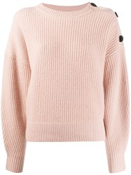 Yves Salomon Shoulder Button Jumper Pink