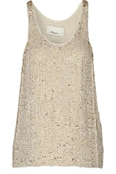 3.1 Phillip Lim Sequined Silk Georgette Tank Metallic