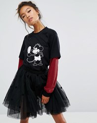 Lazy Oaf X Disney Mickey Mirror Long Sleeve T Shirt Black
