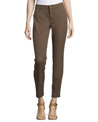 Minnie Rose Skinny Stretch Twill Ankle Pants Cigar Brown