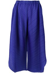 Issey Miyake Pleats Please By Wide Legged Cropped Trousers Blue