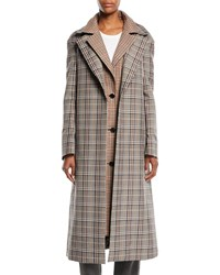 Monse Plaid Combo Double Collar Single Breasted Long Wool Blend Coat Multi Pattern