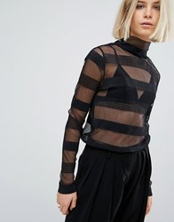 Moss Copenhagen Stripe Sheer Long Sleeve Top Black