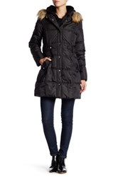 Dkny Faux Fur Trim Side Tab Puffer Black