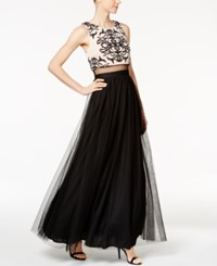 Betsy And Adam Illusion 2 Pc. Lace Mesh Gown Black Nude