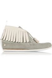 Rag And Bone Ghita Fringed Suede Leather Ankle Boots Light Gray