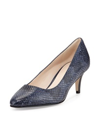 Cole Haan Lena Ii Snake Embossed Low Heel Pump Blazer Blue