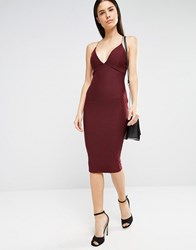 Ax Paris Plunge Front Midi Cami Dress In Waffle Wine Purple