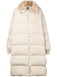 Eleventy Fur Collar Padded Coat Nude And Neutrals