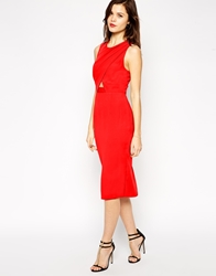 Asos Cross Front Cut Out Midi Pencil Dress Red