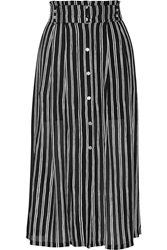 A.L.C. Mcdermott Striped Silk Midi Skirt Black