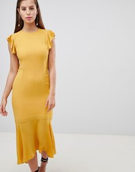 Hope And Ivy Lattice Back Pencil Dress With Ruffle Yellow