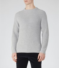Reiss Cookly Mens Ribbed Crew Neck Jumper In Grey