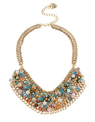 Betsey Johnson Weave And Sew Woven Mixed Multi Colored Bead And Flower Mesh Bib Necklace