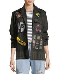 Libertine Crystal Collage Beaded Army Jacket Multi Pattern