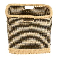 The Basket Room Zangira Square Hand Woven Storage Black Stripes Black Beige