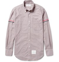 Thom Browne Slim Fit Grosgrain Trimmed Gingham Cotton Oxford Shirt Claret