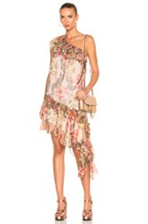 Philosophy Di Lorenzo Serafini One Shoulder Asymmetrical Dress In Florals Pink Florals Pink