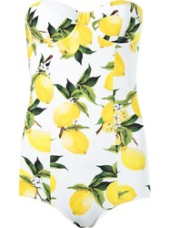 Dolce And Gabbana Lemon Print Swimsuit White