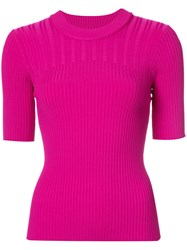Carven Ribbed Short Sleeve Knitted Top Women Nylon Spandex Elastane Viscose Xs Pink Purple