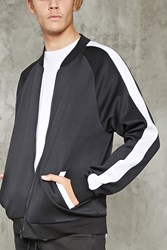 Forever 21 Scuba Knit Bomber Jacket Black White