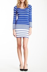 Gracia Striped Knit Dress Blue
