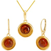 Be Jewelled Amber Textured Round Pendant Necklace And Drop Earrings Gift Set Gold Cognac