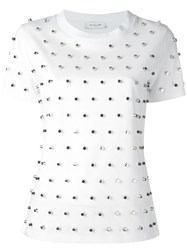 Thierry Mugler Silver Tone Studded T Shirt White
